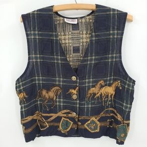 Vintage D'allaird's Light Rayon Horses Vest